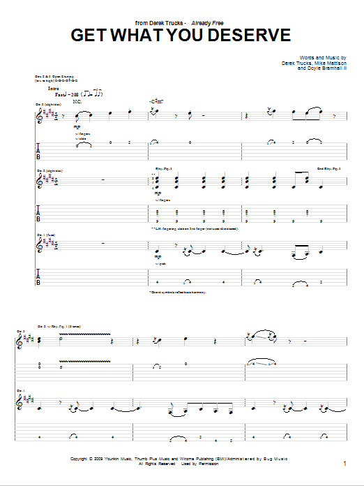 Tablature guitare Get What You Deserve de The Derek Trucks Band - Tablature Guitare
