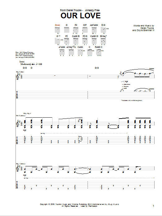 Tablature guitare Our Love de The Derek Trucks Band - Tablature Guitare