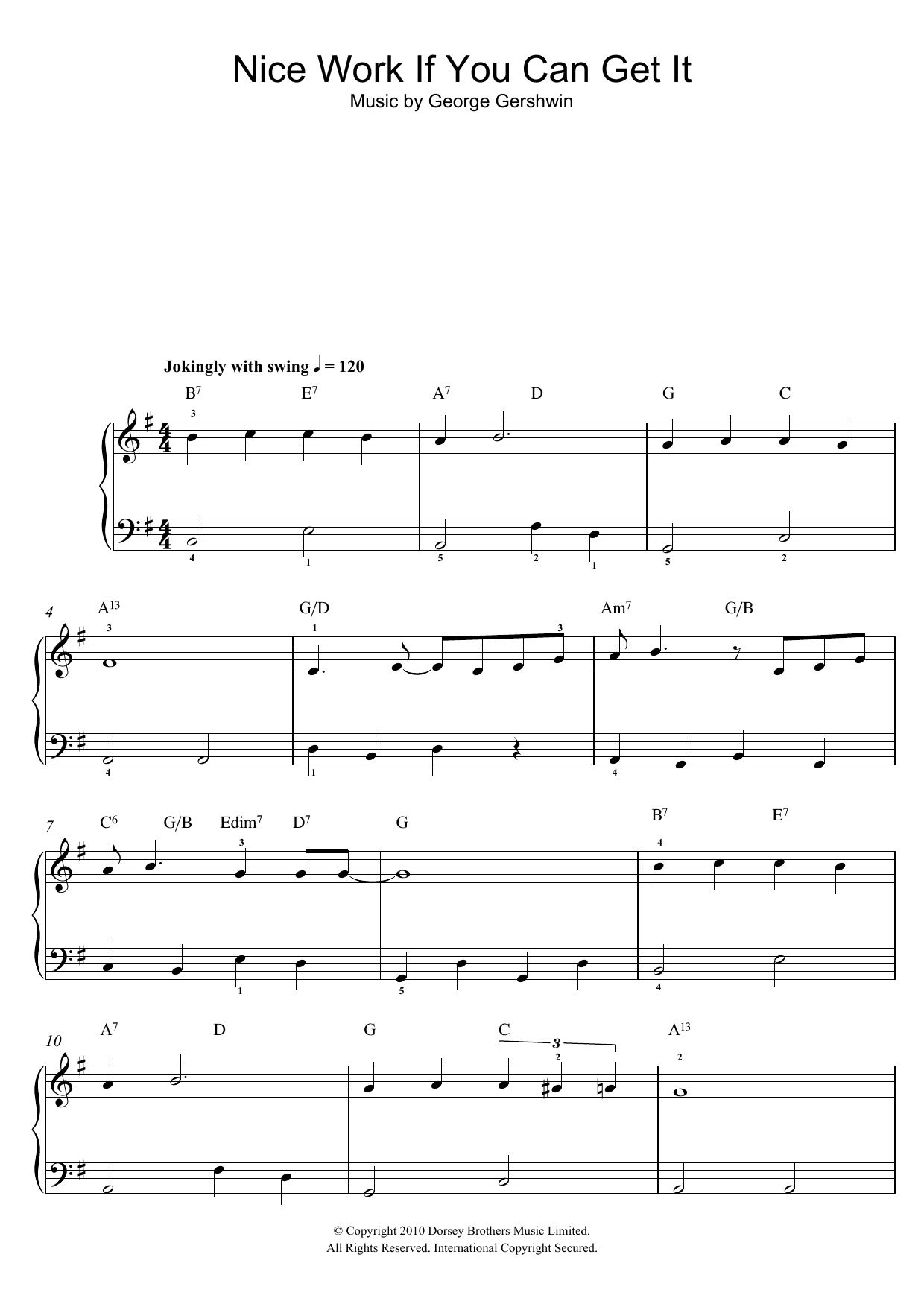 Nice Work If You Can Get It Sheet Music