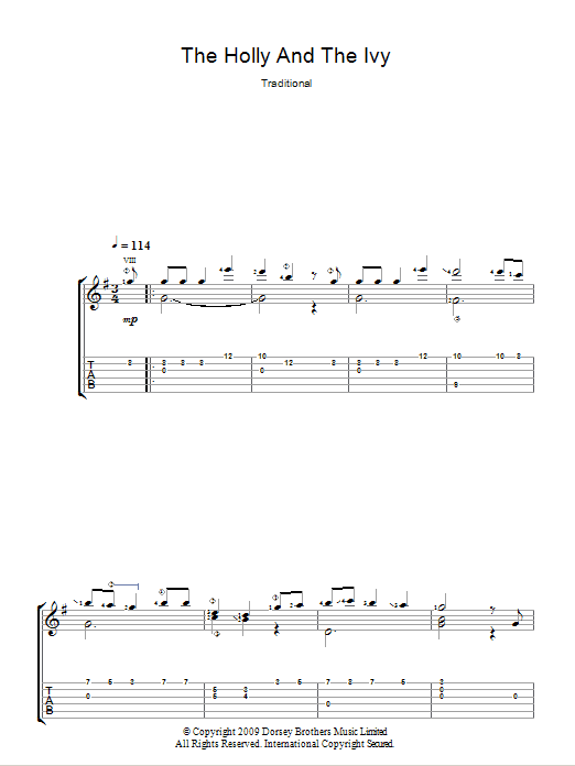 The Holly And The Ivy (Guitar Tab)