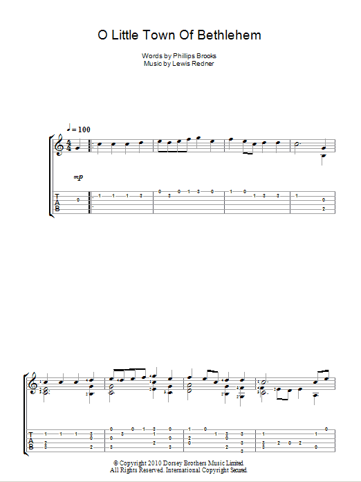 O Little Town Of Bethlehem (Guitar Tab)