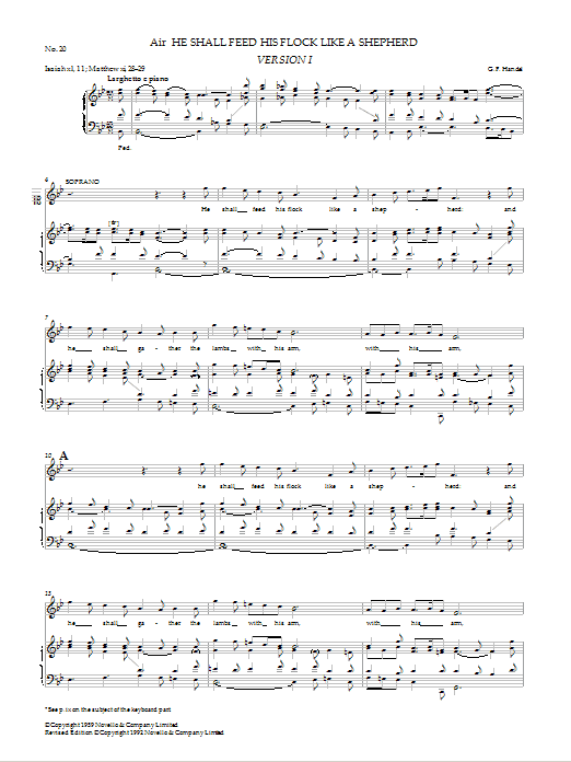He Shall Feed His Flock Like A Shepherd (from Messiah - Watkins Shaw Edition) Sheet Music