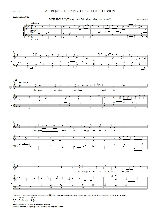 Rejoice Greatly, O Daughter Of Zion (Version II) (from Messiah - Watkins Shaw Edition) Sheet Music