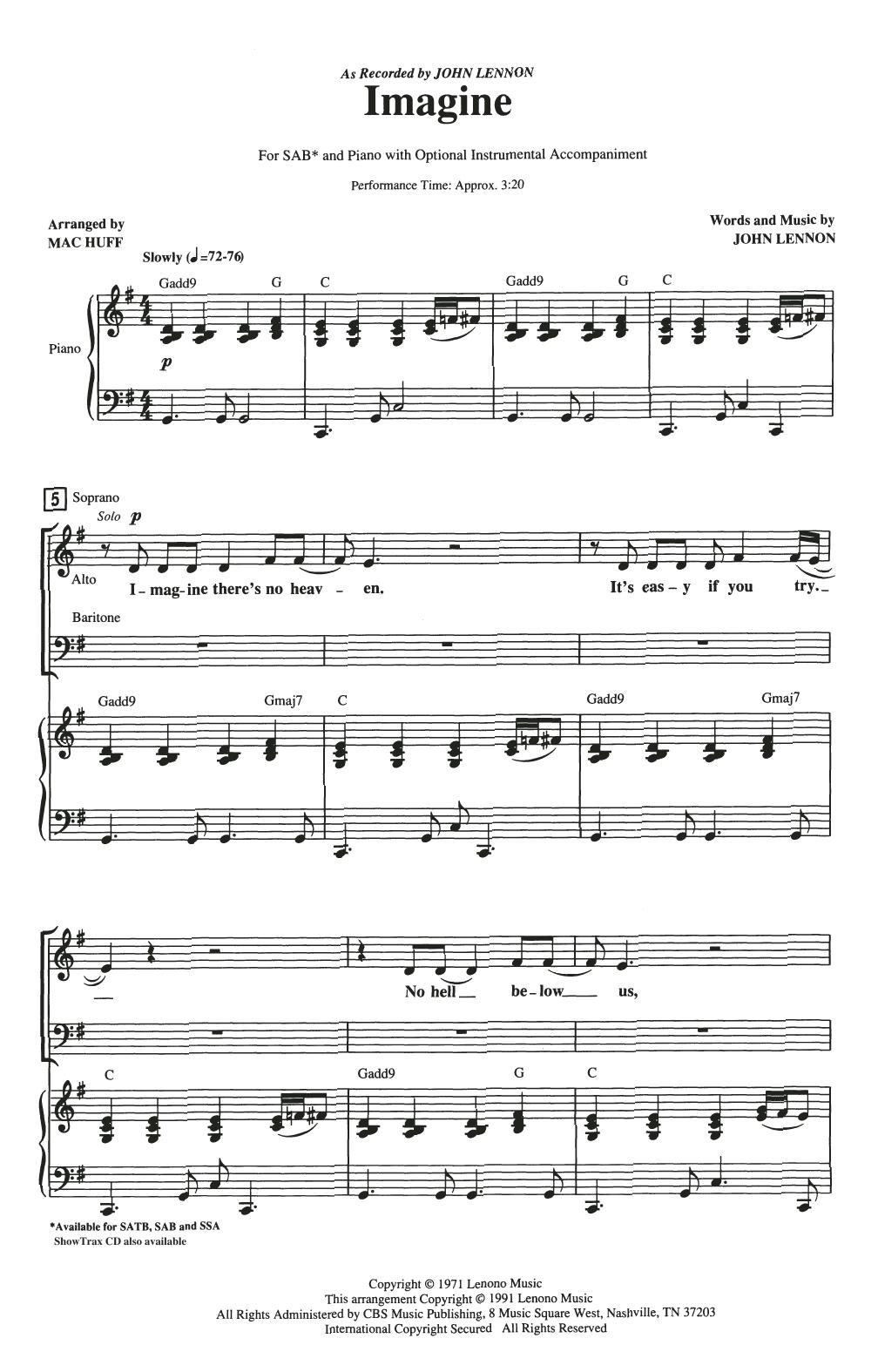 Imagine (arr. Mac Huff) (SAB Choir)