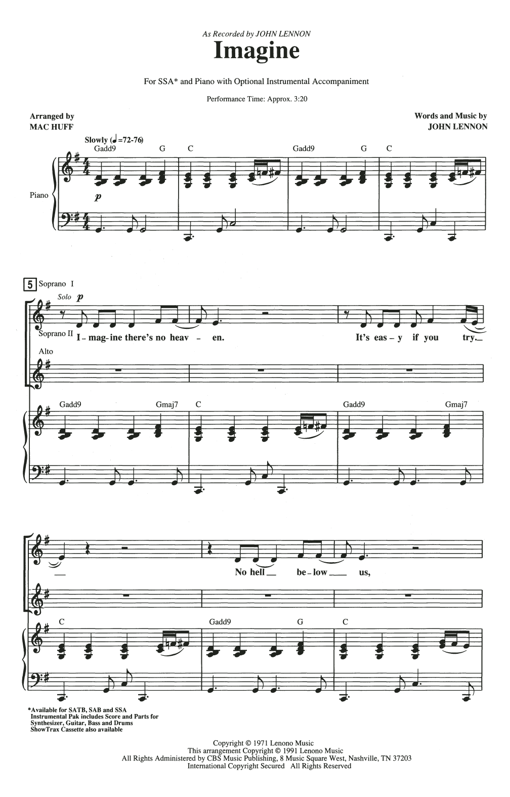 Imagine (arr. Mac Huff) Sheet Music