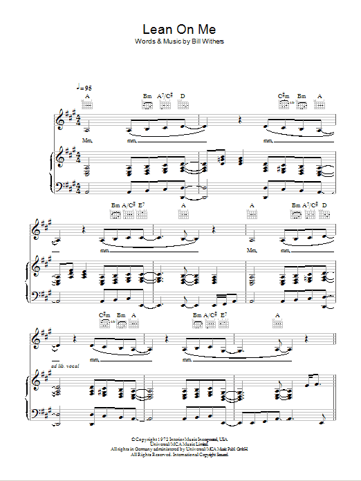 Lean On Me   Sheet Music Direct