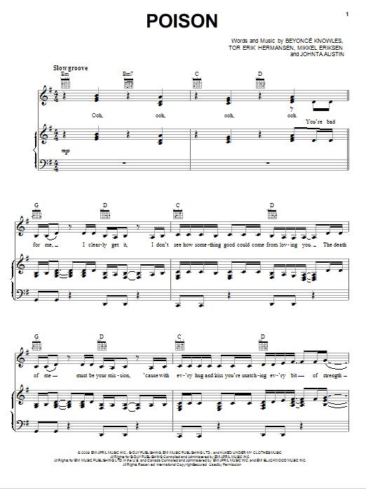 Partition piano Poison de Beyonce - Piano Voix Guitare (Mélodie Main Droite)