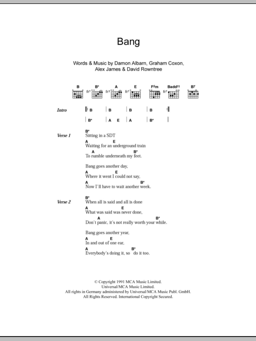 Bang Sheet Music Blur Lyrics Chords