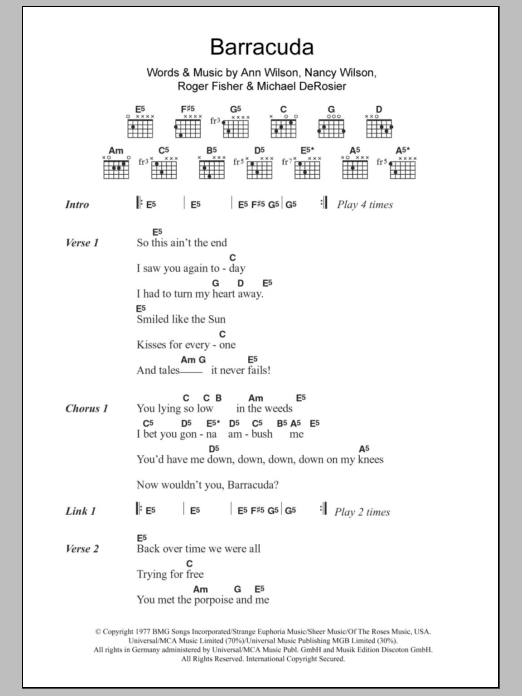 Barracuda by Heart - Guitar Chords/Lyrics - Guitar Instructor