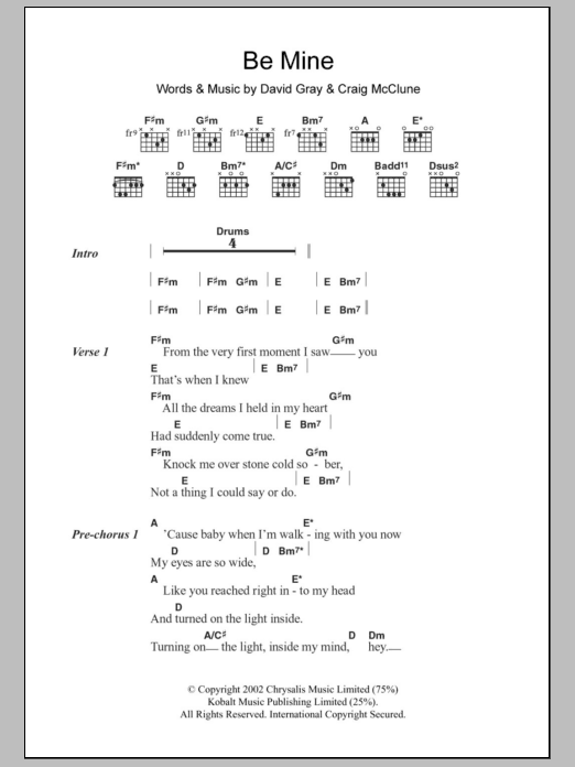 Be Mine by David Gray - Guitar Chords/Lyrics - Guitar Instructor