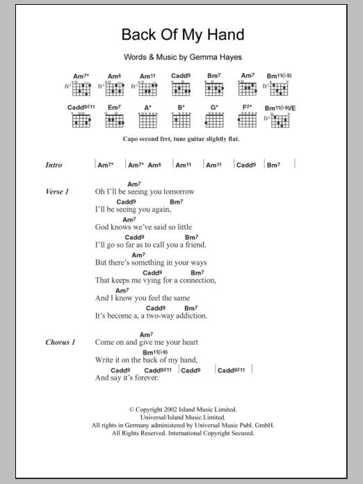 Back Of My Hand Sheet Music