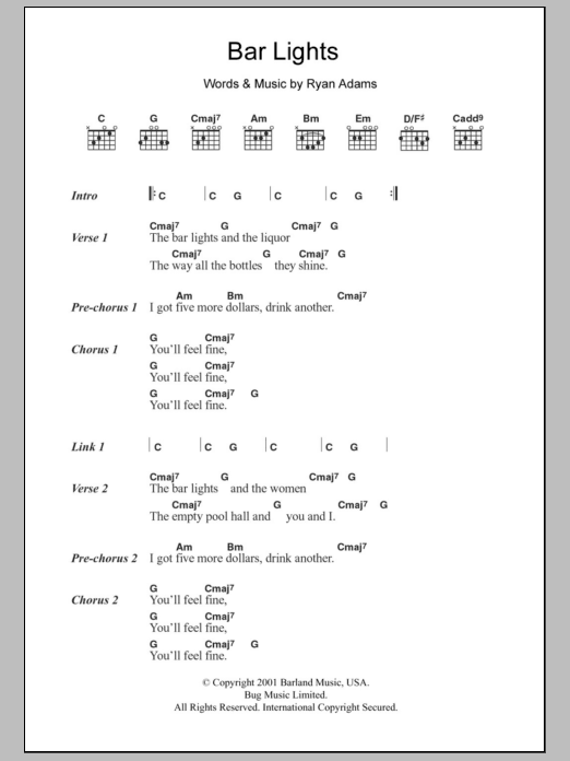 Bar Lights Sheet Music