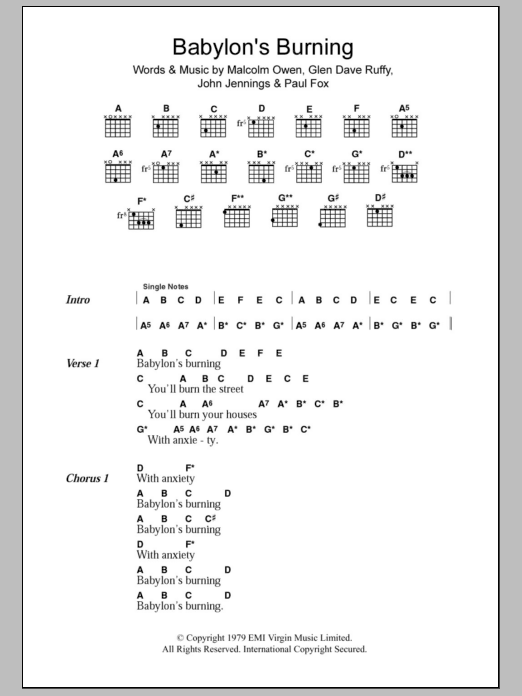 Babylon\'s Burning by The Ruts - Guitar Chords/Lyrics - Guitar Instructor