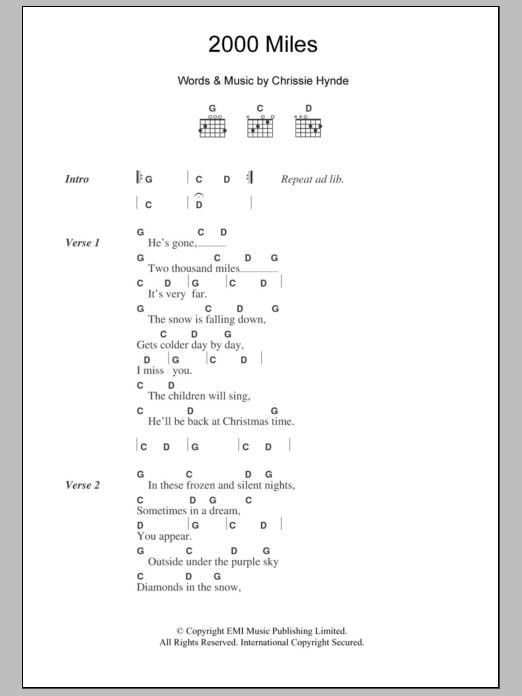 2000 Miles by The Pretenders - Guitar Chords/Lyrics - Guitar Instructor