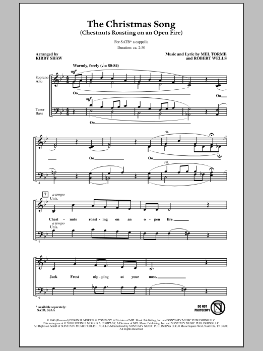 The Christmas Song (Chestnuts Roasting On An Open Fire) (SATB Choir)