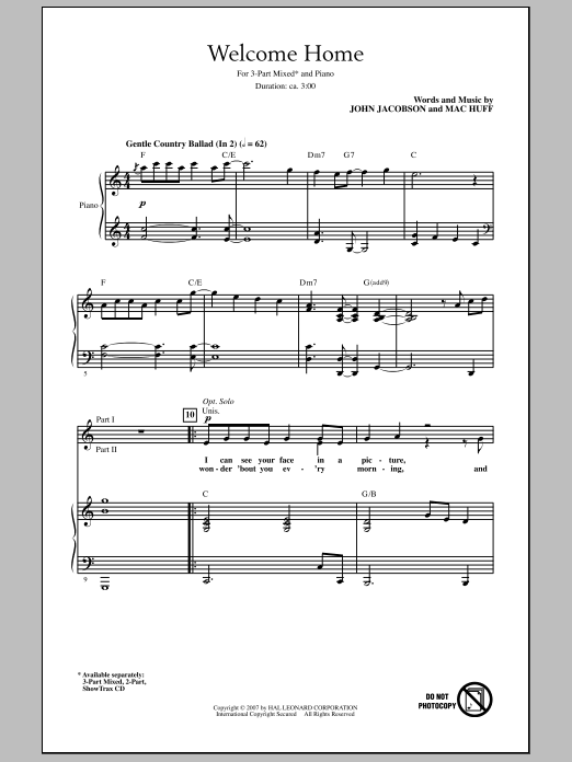 Welcome Home Sheet Music