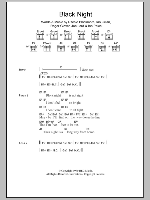 Black Night by Deep Purple - Guitar Chords/Lyrics - Guitar Instructor