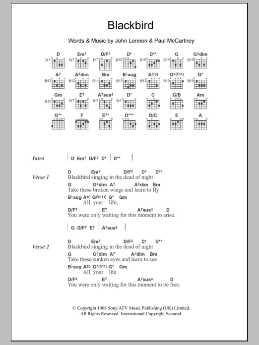 Song lyrics with guitar chords for blackbird the beatles.