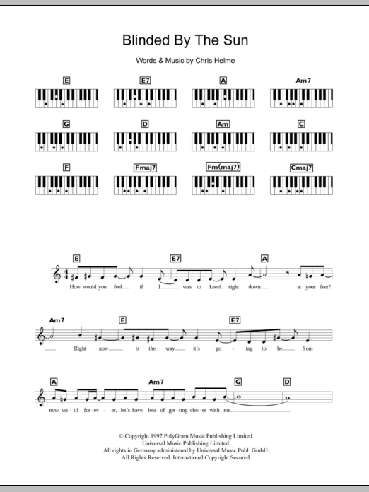 Blinded By The Sun Sheet Music