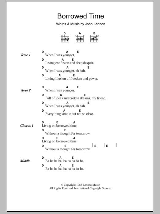 Borrowed Time Sheet Music