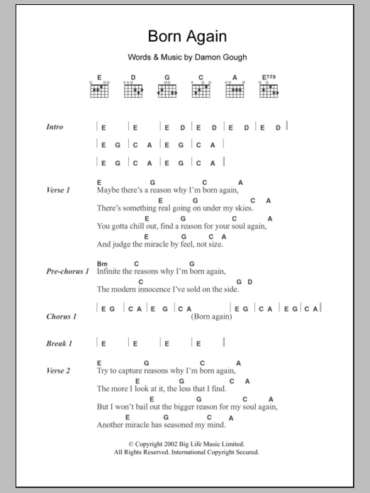 Born Again Sheet Music