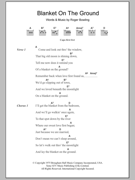Blanket On The Ground Sheet Music