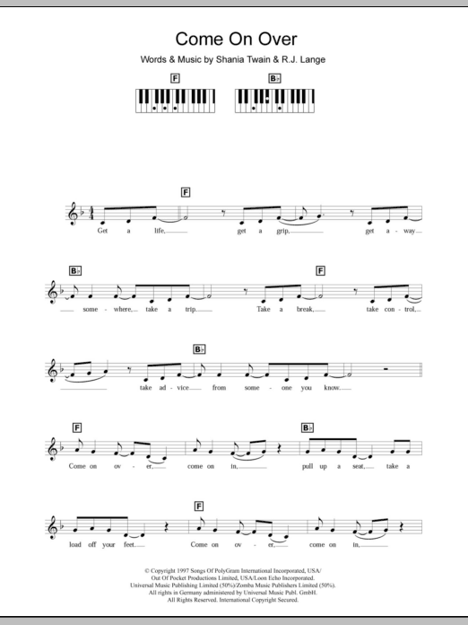 Come On Over Sheet Music