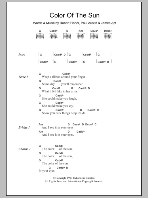 Color Of The Sun Sheet Music
