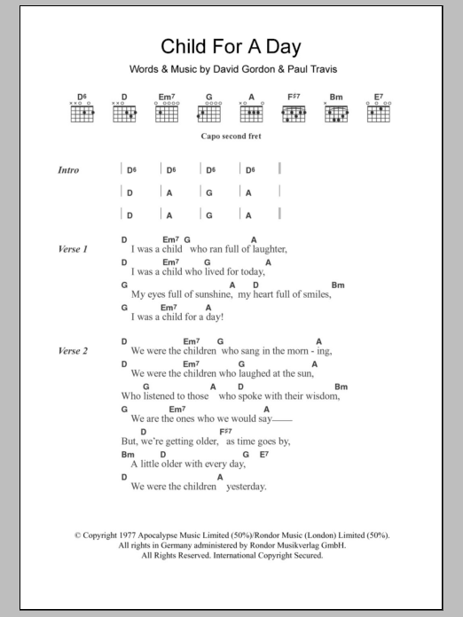 Child For A Day Sheet Music