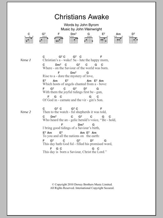 Christians Awake by Christmas Carol Piano, Vocal & Guitar (Right-Hand  Melody) Digital Sheet Music