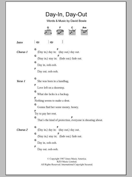 Day In Day Out Sheet Music David Bowie Lyrics Chords