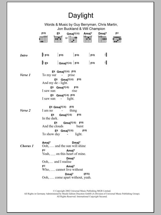 Daylight by Coldplay - Guitar Chords/Lyrics - Guitar Instructor