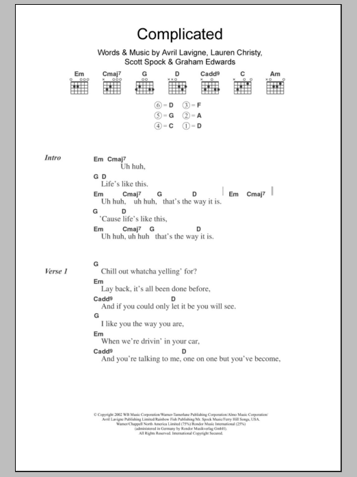 Complicated Sheet Music | Avril Lavigne | Lyrics & Chords