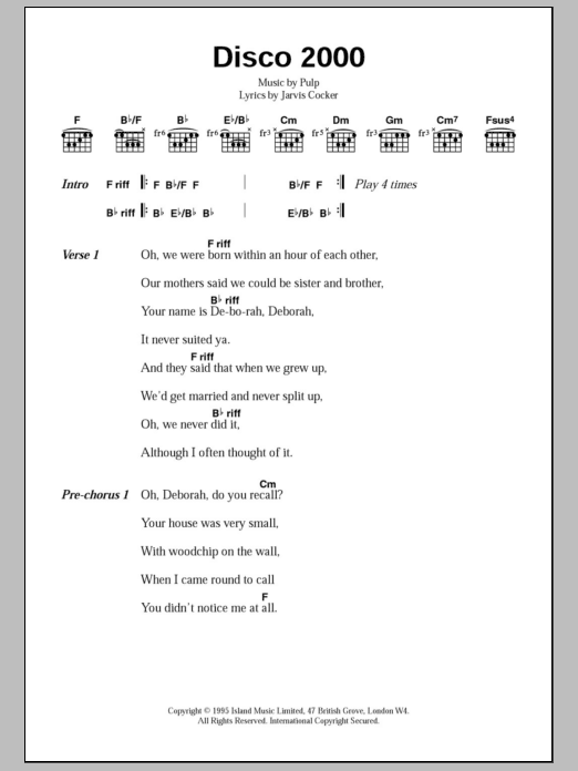 Disco 2000 Sheet Music
