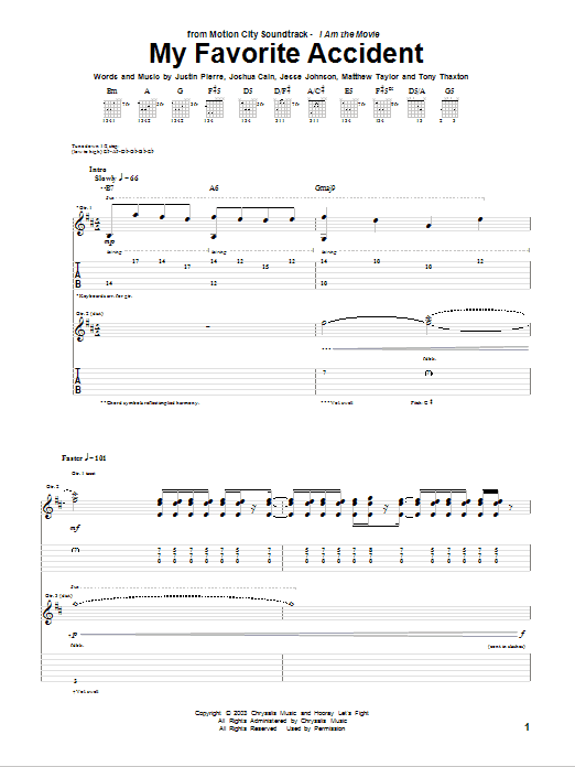 Tablature guitare My Favorite Accident de Motion City Soundtrack - Tablature Guitare