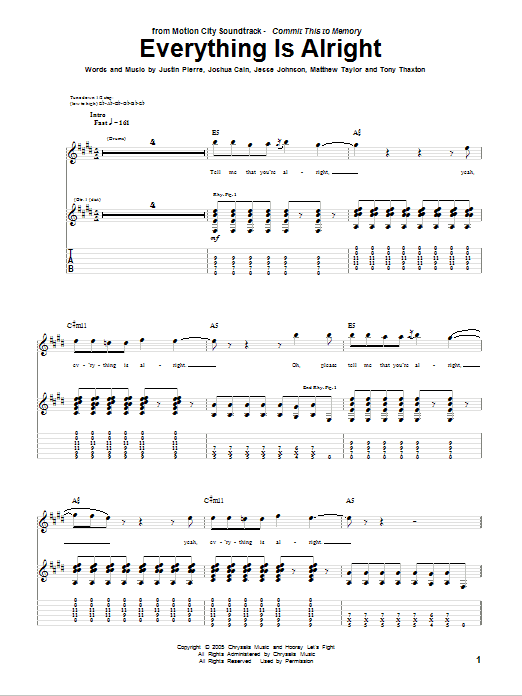 Tablature guitare Everything Is Alright de Motion City Soundtrack - Tablature Guitare