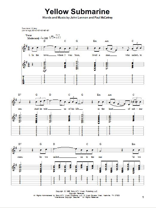 Tablature guitare Yellow Submarine de The Beatles - Autre