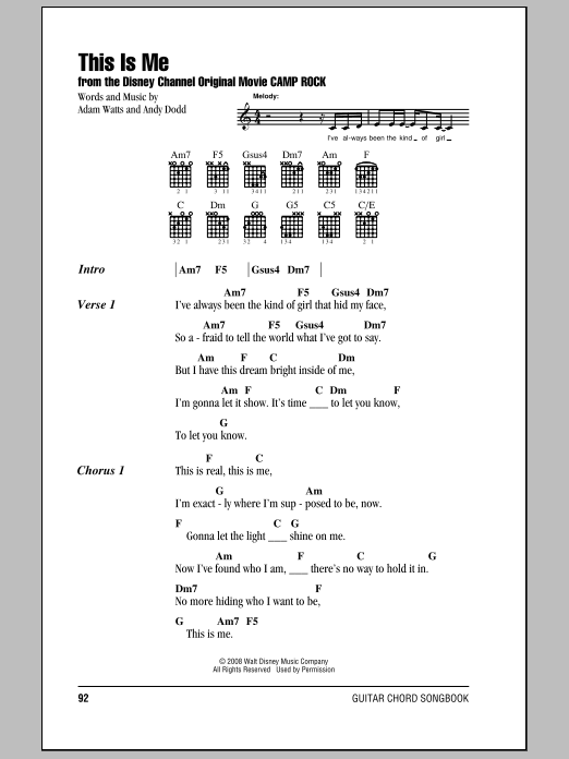 This Is Me by Demi Lovato - Guitar Chords/Lyrics - Guitar Instructor