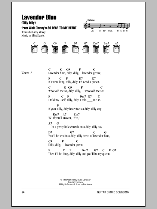 Lavender Blue (Dilly Dilly) Sheet Music
