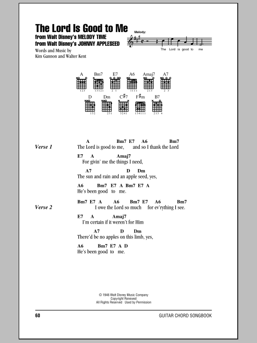 The Lord Is Good To Me (Guitar Chords/Lyrics)
