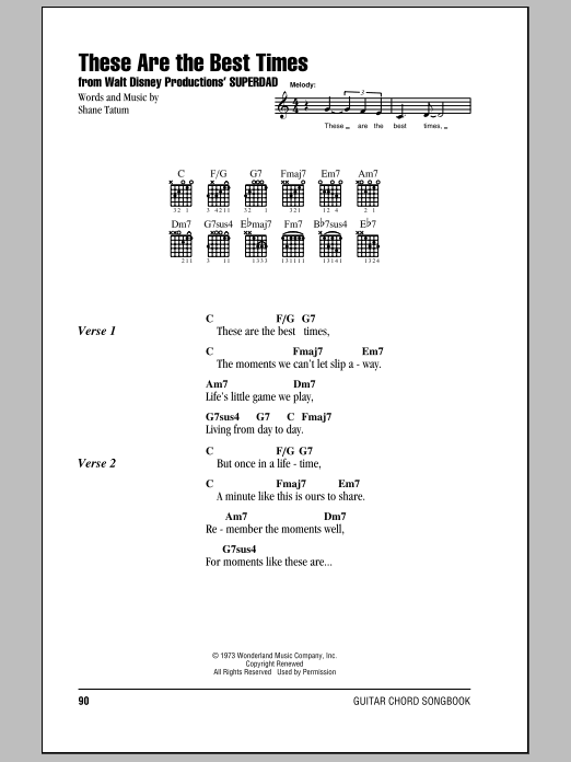 These Are The Best Times Sheet Music By Bobby Goldsboro Lyrics