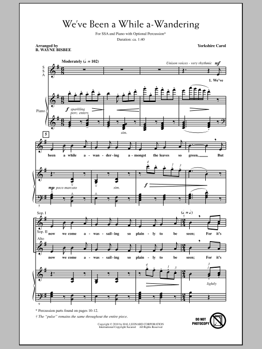 We've Been A While A-Wandering Sheet Music