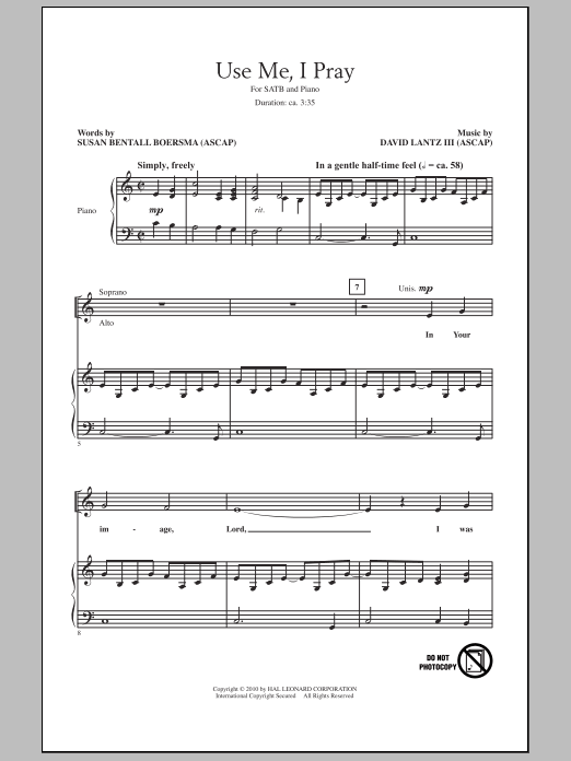 Use Me, I Pray Sheet Music