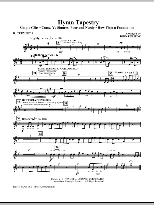 Hymn Tapestry (complete set of parts) sheet music for orchestra/band (Brass) by John Purifoy. Score Image Preview.