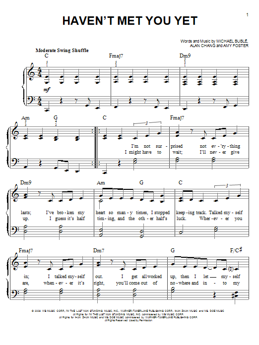 Haven't Met You Yet Sheet Music