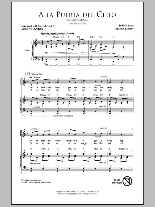 Partition chorale A La Puerta Del Cielo de Audrey Snyder - SATB