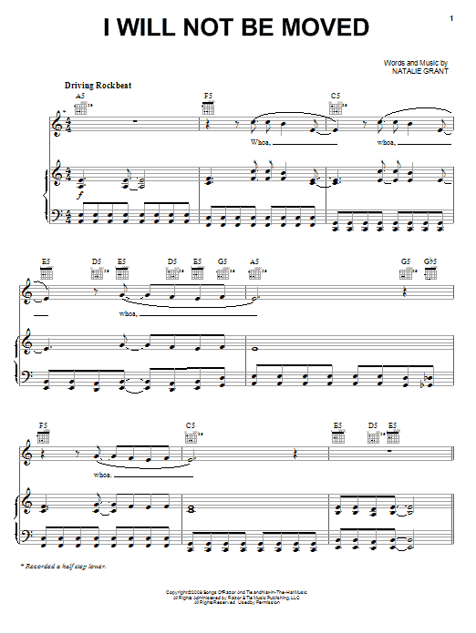 I Will Not Be Moved (Piano, Vocal & Guitar (Right-Hand Melody))