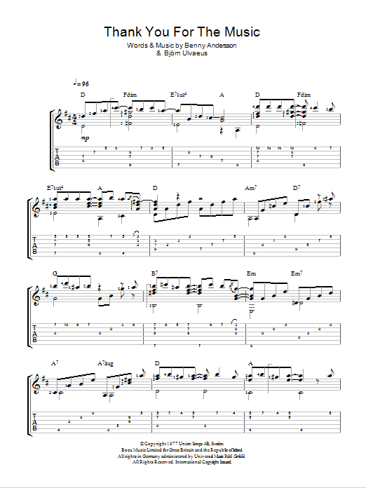 Thank You For The Music (Easy Guitar Tab)
