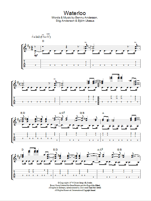 Waterloo (Easy Guitar Tab)