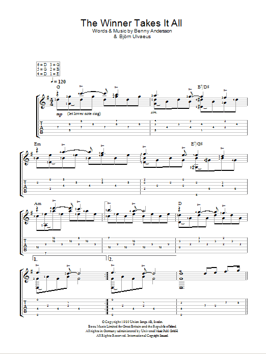 The Winner Takes It All by ABBA - Easy Guitar Tab - Guitar Instructor